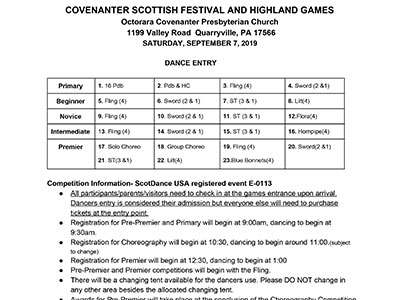 2019 Covenanter Highland Dance Competition Form