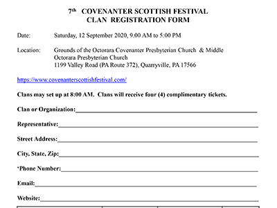2019 Covenanter Clan Registration Form